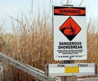 Dangerous Shorebreak Warning. Sign cautioning swimmer about dangerous waves Stock Photos
