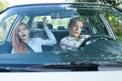 Dangerous situation in a car. Couple during dangerous situation in a car stock images