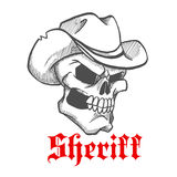 Dangerous skull sheriff in cowboy hat sketch Royalty Free Stock Image