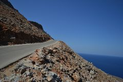 Dangerous slope and unreal beauty. Greece. A dangerous slope and unreal beauty, the road to Shaitan Limania, not known beauty, there are no crowds of tourists Stock Photography