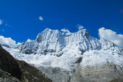 Dangerous snow and rocky peak in Huascaran Royalty Free Stock Image