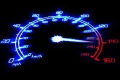 Dangerous speed. Illustration of the speeding car speedometer on the black Stock Photos