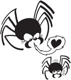 Dangerous Spider Love. Dangerous black female spider aggressively seducing a scared mate Royalty Free Stock Photography