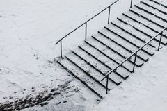 Stairs in winter snow stock photos