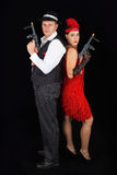 Dangerous standing bonny and clyde gangsters with 1920 clothes s Royalty Free Stock Photos