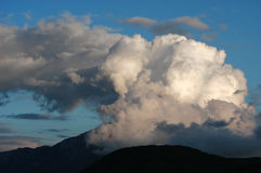 Dangerous stormy clouds. Above mountain Athos stock images