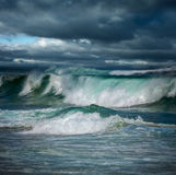 Dangerous stormy weather - big ocean waves Stock Images