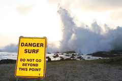 Dangerous Surf. Crashing ocean waves make for dangerous surf Stock Photos