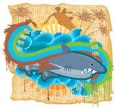 Dangerous surfing. Grunge illustration, surfer in action over shark. Vector illustration Stock Image