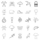 Dangerous territory icons set, outline style Royalty Free Stock Photos