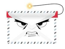 Dangerous terroristic envelope with dynamite Royalty Free Stock Images