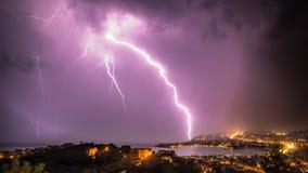 Dangerous thunderstrike. Thunderstorm in Split, Croatia.nDangerous lightning encounter in the bay area Royalty Free Stock Photo