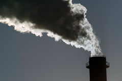 Dangerous toxic CO2 cloud. From industrial chimney, copy space Stock Images