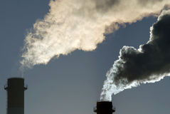 Dangerous toxic CO2 cloud. From industrial chimney, global warming Stock Photography