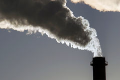 Dangerous toxic CO2 clouds. From industrial chimney, pollution concept Royalty Free Stock Image