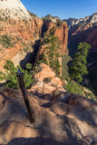 Dangerous trail in Zion National Park, Angel's landing. Utah Stock Photo