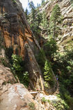 Dangerous Trail in Zion National Park Stock Photo