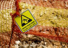 Dangerous Trench Sign. A bilingual warning sign in hebrew and arabic, warning of a dangerous ditch Royalty Free Stock Image