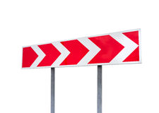Dangerous turn roadsign isolated on white Royalty Free Stock Images