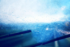 Dangerous vehicle driving in the heavy rainy day Stock Photo