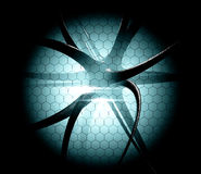 Dangerous virus with backlight with Hexagonal cell Stock Photo