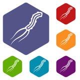 Dangerous virus icons set Royalty Free Stock Photography