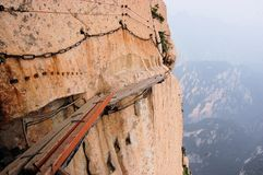 Dangerous walkway at top of holy Mount Hua Shan. Dangerous walkway via ferrataat top of holy Mount Hua Shan in Shaanxi province near Xi'an, China Royalty Free Stock Photo
