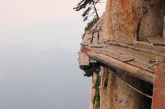 Dangerous walkway at top of holy Mount Hua Shan Stock Photography
