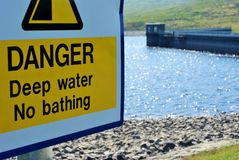 Dangerous water. Spelga Dam resevoir, co.Down. No Swimming Stock Photo