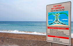 Dangerous waves warning sign Stock Image