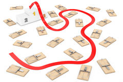 Dangerous Way to Target Concept. Arrow Way to Success through Ma. Ny Wooden Mousetraps on a white background. 3d Rendering Royalty Free Stock Photos