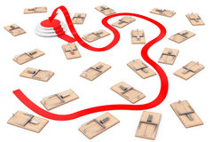 Dangerous Way to Target Concept. Arrow Way to Success through Ma. Ny Wooden Mousetraps on a white background. 3d Rendering Stock Image