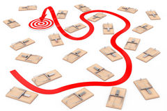 Dangerous Way to Target Concept. Arrow Way to Target through Man. Y Wooden Mousetraps on a white background. 3d Rendering Royalty Free Stock Images