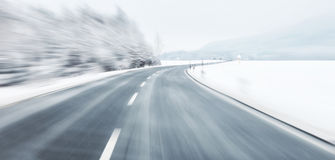 Dangerous winter driving Royalty Free Stock Photo