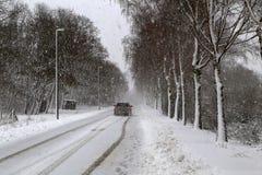 Winter. Dangerous winter road after heavy snowfall. Dangerous winter road after heavy snowfall royalty free stock image