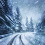 Dangerous winter snowfall road driving Stock Images