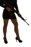 Dangerous woman in black with assault rifle Royalty Free Stock Photography