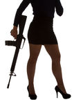 Dangerous woman in black with assault rifle Royalty Free Stock Photo