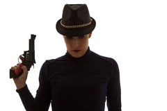 Dangerous woman in black with big handgun Royalty Free Stock Photos