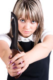 Dangerous woman with knife Stock Photo