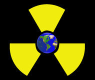 Dangerous world. Radioactive sign with planet Earth inside.  Stop nuclear and radioactive pollution concept Stock Images
