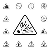 Dangerously explosive sign icon. Detailed set of Warning signs icons. Premium quality graphic design sign. One of the collection i. Cons for websites, web design Royalty Free Stock Images