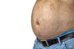 The Dangers of Belly Fat., Obese Man in Jeans Squeeze the Belly Royalty Free Stock Photos