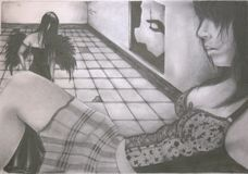 Dangers of drug abuse. A hand drawing of a teenage girl that has fallen victim to drug abuse Stock Images
