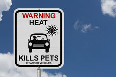 Dangers of leaving a dog in parked cars. A graphic of a dog in a car and the sun and a warning message sign Royalty Free Stock Photography