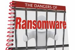 Dangers of Ransomware Internet Cyber Attacks Book 3d Illustratio. N Stock Photo