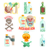 Dangers and risk from alcohol set, alcoholism vector Illustrations. Isolated on white background Stock Photos
