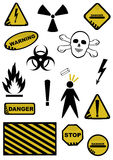 Dangers signs. Set of Dangers signs. Objects on white background Stock Photography