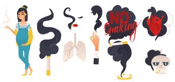 Dangers of smoking, health risk, flat style set. Dangers of smoking, health risk, hand, female face and pregnant woman with cigarette, skull and ashtray, flat Stock Image