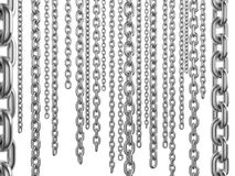 Dangling chains. Isolated metal dangling chains on white background. 3d render Stock Images